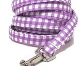 """XS Leash - Purple Gingham - 3/8"""" wide - 4 or 6 Feet long for Cats and Small Dogs"""