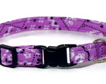 Cat Collar - Soft Purple Bandana - Breakaway Safety Cute Fancy Cat Kitten Collar