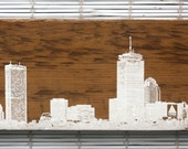 "Boston Skyline Wall Hanging on Reclaimed Barn Wood - 7""x15"""