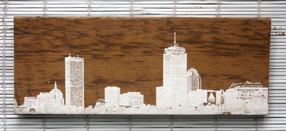 Boston Skyline Wall Hanging On Reclaimed Barn Wood - Reclaimed Wood Boston WB Designs
