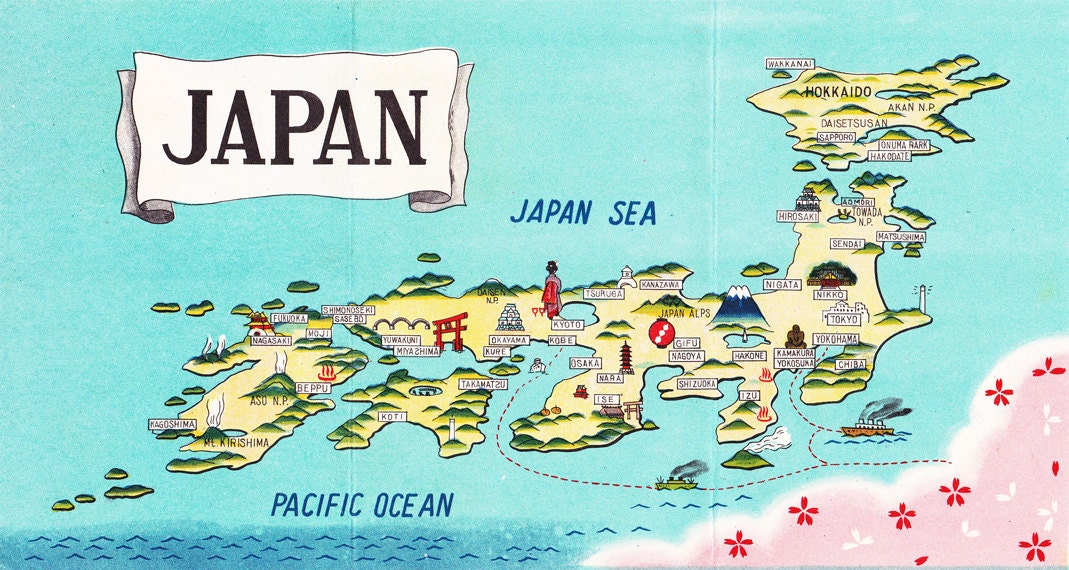 Map Of Japan Charming Cartograph From The S A - Japan map full