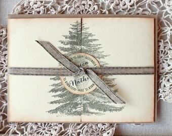 Rustic Woodland Wedding Invitation Pine Tree Pine Cone Set of Ten