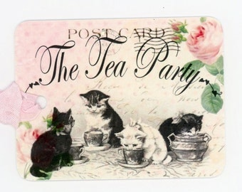 The Tea Party Tags , Cat Gift Tags , Cat Tea Party Hang Tags , Kitten Tags