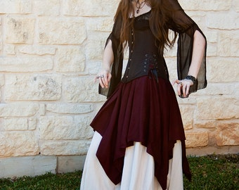 Dark Purple Linen Pixie Skirt - Renaissance Clothing - Halloween Costume - Fairy Skirt - Ren Faire Garb - Pirate Costume - Medieval Clothing