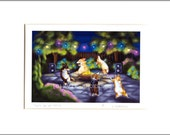 "Evie Anderson Pembroke Welsh Corgi Dog Art SIGNED PRINT ""Party On My Patio""  (signed, matted)"