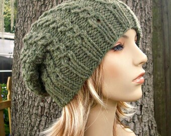 Knit Hat Womens Hat Slouchy Beanie - Eyelet Cable Slouchy Hat Willow Green Knit Hat - Green Hat Green Beanie Womens Accessories Winter Hat
