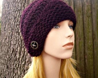 Purple Womens Hat Purple Cloche - Hybrid Swirl Cloche Hat Eggplant Purple Knit Hat - Purple Hat Purple Beanie Womens Accessories Winter Hat
