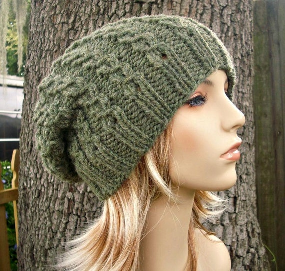 Womens Hat Knitting Pattern : Knit Hat Womens Hat Slouchy Beanie Eyelet Cable Slouchy Hat