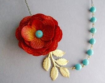 Statement Necklace Turquoise Necklace Bridesmaid Jewelry Burnt Orange Flower Necklace Burnt Orange Necklace Leaf Necklace Turquoise Jewelry