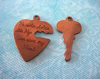 Vintage Copper Heart and Key Pendant Set He who holds the Key can open my Heart