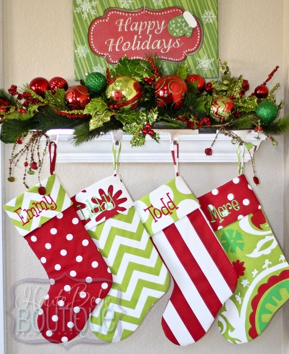 Items similar to personalized christmas stocking family for Custom made christmas stockings
