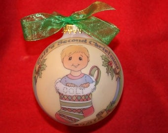 Baby Boy's SECOND CHRISTMAS Ornament, Custom Original Handpainted and personalized Ornament