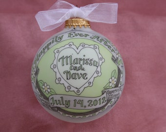 Happily Ever After Wedding Keepsake Ornament, Handpainted and Personalized