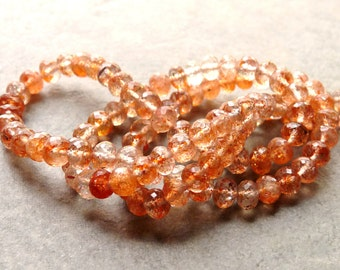 RESERVED - AAA Sunstone Faceted Rondelle Beads - 5mm - Packet of 8 Beads