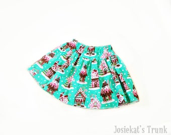 Gingerbread Skirt - Christmas Skirt - Baby SKirt - Toddler Skirt - Twirl Christmas House Infant Toddler Fabric 0/6 6/12 12/18 18/24 2T 3T 4T