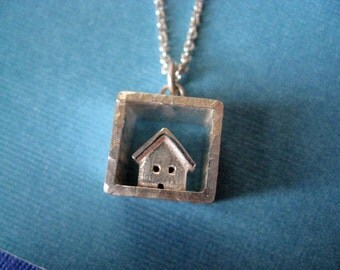 House in a Box Long Necklace Sterling Silver