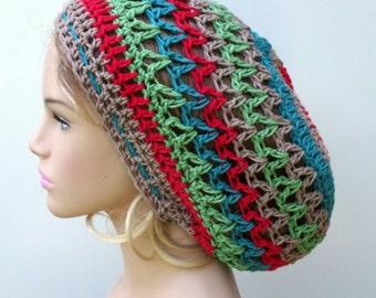 Summer Breeze slouchy beanie, Cotton Hemp Hippie Tam Hat Slouchy Beanie snood baggy, summer beanie, dread tam hat