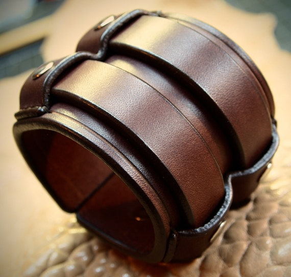 Leather cuff Bracelet 2.5 Inch Wide rich brown bridle leather wristband Custom made for YOUR wrist in NYC by Freddie Matara