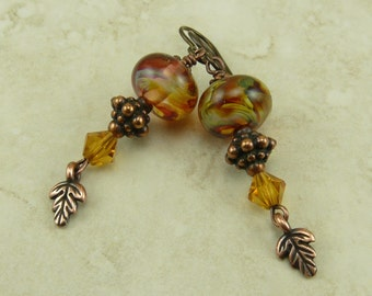Fiery Fall Lampwork Bead Earrings - Copper Brown Autumn Mabon Oak Gold Red Earth - Swarovski Crystals & Hypoallergenic Niobium Ear Wires