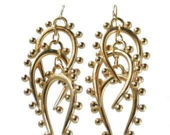 "Triple Beaded  ""U"" Dangle Earring"