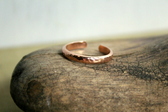 Hammered 14K Rose Gold Fill Toe Ring- Wide Half Round -2.5mm