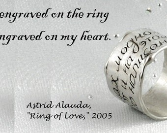 Personalised silver ring. Sterling silver ring with a writing. SIZE 8,5. Extra wide organic ring