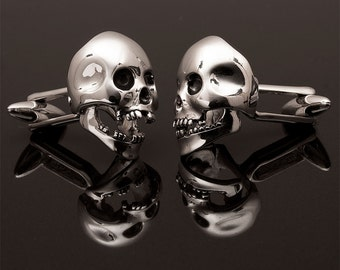 Sterling Silver Skull Cufflinks, articulated jaw