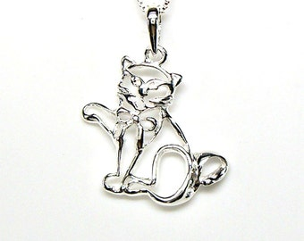 Lucky Money Cat Sterling Silver Outline Raised Paw Charm Pendant Customize no. 2112