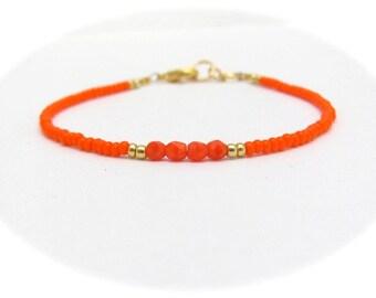 Orange Friendship Bracelet, Seed Bead Bracelet, Beaded Bracelet, Orange Bracelet, Friendship Bracelet, Stacking Layer Bracelet, Neon Orange