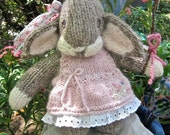 Knit Animal, Stuffed Lop Bunny Doll/ / Hand Knit, Hand Embroidered A is for Amanda, B is for Balloon