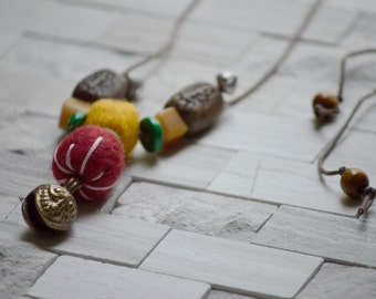 Gypsy Necklace, Yellow and Red Felt Beads