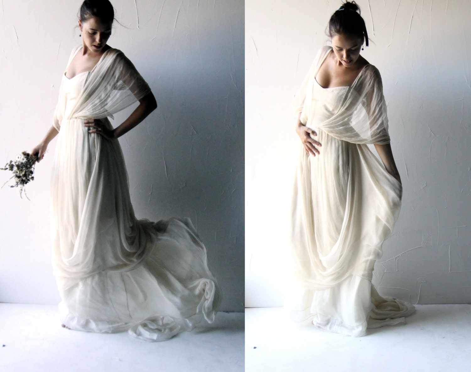 Request a custom order and have something made just for you for Grecian wedding dress with sleeves