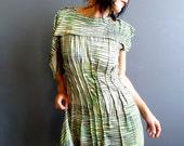 In Watermelon Sugar - iheartfink Handmade Hand Printed Womens Asymmetric One Sleeve Wearable Art Green Mini Dress