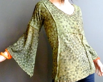 Spanish Moss - iheartfink Handmade Hand Printed Womens Unique Floral Art Print Wearable Art Bell Sleeves Jersey Top