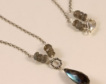 Labradorite and Sterling Silver Necklace, Gemstone Necklace, Wire Wrapped, Charm Necklace NORI