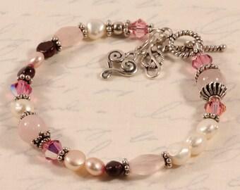 Pink Beaded Bracelet Valentine's Day, Love Heart Eternity Red, June Birthstone Pearl, Swarovski Crystals, Sterling Silver BETE