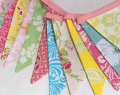 Long Fabric Bunting, Shabby Chic Designer's Choice, 13 Medium Sized Flags, Photography Prop, Party Flag Banner, Wedding Decor.