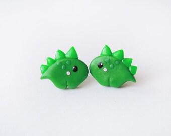 Cute Green Baby Dinosaur Stegosaurus Earrings
