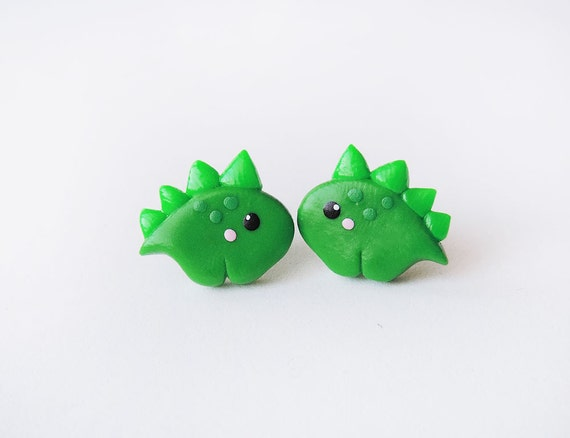 Cute Green Baby Dinosaur Stegosaurus Earrings