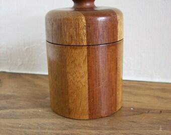 Wood Box Mahogany Striped Round w/Lid Danish Container