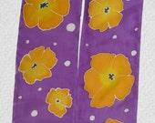 Hand Painted silk scarf - Purple Poppies
