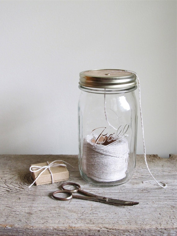 Vintage Quart Mason Jar String Dispenser