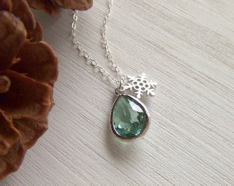 Winter Ice Mint Snowflake Jewelry Necklace - Silver Snowflake Charm - Holiday Gift for Her - Christmas Gift Guide - Gift for Her - Under 30