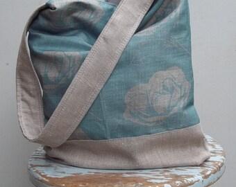 Robins Egg Blue Camelia Vintage Inspired Bag - Linen - Cotton - 2 Pockets