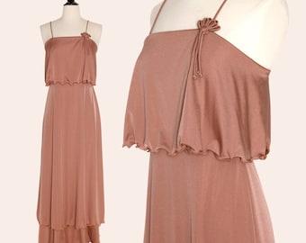 Vintage 70s Dress / Caramel Dress / 70s Maxi Dress