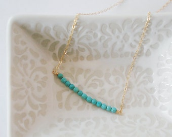 Delicate Tiny Turquoise Bar Necklace, Genuine Turqouise on 14KT Gold Fill Chain