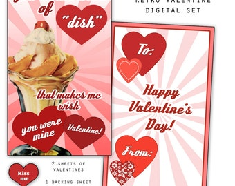 "Retro Sweet Valentine Printable Set 8 3x5"" valentines PDF"