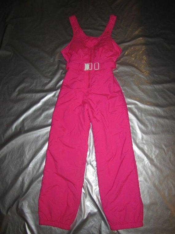Hot Pink Ski Bib Pants Women S Size Small Vintage