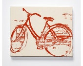 Bike Canvas Print 8 x 10 Inch Vintage Bicycle Screenprint Wall Art