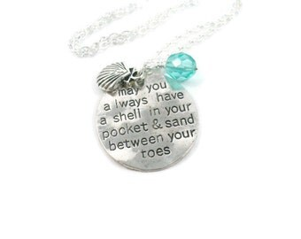 Shell In Your Pocket, Silver Charm Necklace, Shell, Swarovski Crystal, Sand Between Your Toes